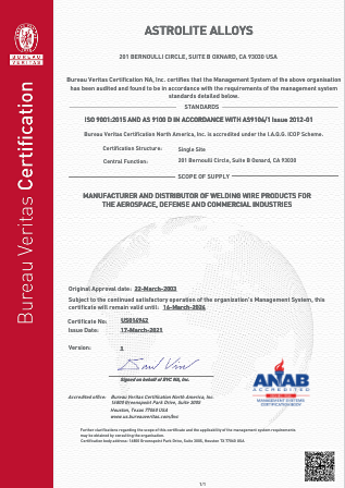 Astrolite Alloys Certification